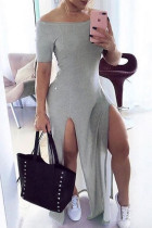 Grey Sexy Casual Solid Slit Off the Shoulder Short Sleeve Dress
