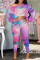 Pink Fashion Casual Print Tie-dye Oblique Collar Long Sleeve Two Pieces