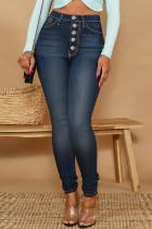 Dark Blue Fashion Casual Solid Buckle High Waist Skinny Denim Jeans