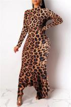 Leopard Print Fashion Casual Print Asymmetrical Turtleneck Long Sleeve Dresses