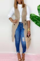 Khaki Fashion Casual Solid Cardigan Turndown Collar Outerwear