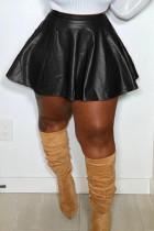 Black Fashion Casual Solid Basic Regular High Waist Skirt
