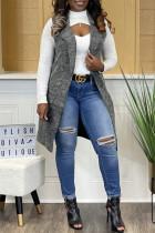 Grey Fashion Casual Solid Cardigan Turndown Collar Outerwear