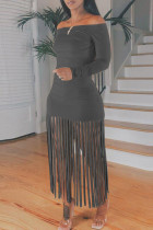 Grey Sexy Casual Solid Tassel Off the Shoulder Long Sleeve Dresses