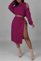 Fuchsia Fashion Casual Solid Split Joint Zipper Hooded Collar Long Sleeve Two Pieces