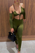 Green Sexy Casual Solid Hollowed Out Backless Halter Long Sleeve Two Pieces