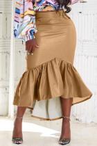 Khaki Fashion Casual Solid Split Joint Regular High Waist Skirt