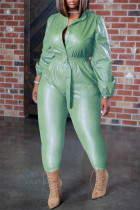Mint green Fashion Casual Solid With Belt Regular Jumpsuits