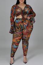 Tiger Pattern Fashion Casual Print Bandage V Neck Plus Size Two Pieces