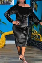 Black Sexy Solid Split Joint Off the Shoulder One Step Skirt Dresses