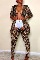 Leopard Print Fashion Casual Print Cardigan Turndown Collar Long Sleeve Two Pieces