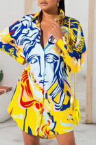 Yellow Casual Print Split Joint Buckle Turndown Collar Tops(Without Belt)