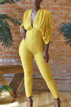 Yellow Fashion Casual Solid Bandage Backless V Neck Skinny Jumpsuits