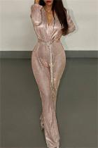 Pink Fashion Casual Solid With Belt V Neck Regular Jumpsuits