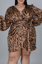 Leopard Print Fashion Casual Print Bandage V Neck Long Sleeve Plus Size Dresses
