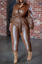 Brown Fashion Casual Solid With Belt Regular Jumpsuits