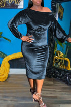 Blue Sexy Solid Split Joint Off the Shoulder One Step Skirt Dresses