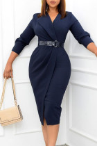 Deep Blue Elegant Solid Split Joint With Belt Turn-back Collar One Step Skirt Dresses