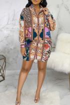 Multicolor Casual Print Split Joint Buckle Turndown Collar Shirt Dress Dresses
