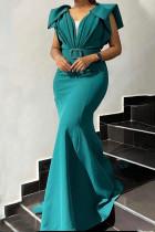 Green Elegant Solid Split Joint Fold V Neck Trumpet Mermaid Dresses