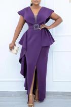 Purple Elegant Solid Split Joint Flounce With Belt Asymmetrical V Neck One Step Skirt Dresses