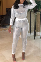 White Fashion Casual Patchwork Sequins O Neck Long Sleeve Two Pieces