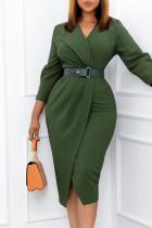 Green Elegant Solid Split Joint With Belt Turn-back Collar One Step Skirt Dresses