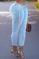 Light Blue Casual Solid Bandage Split Joint High Waist Regular Denim Jeans