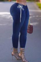 Deep Blue Casual Solid Bandage Split Joint High Waist Regular Denim Jeans