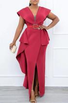Red Elegant Solid Split Joint Flounce With Belt Asymmetrical V Neck One Step Skirt Dresses