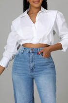 White Casual Solid Split Joint Buckle Turndown Collar Tops