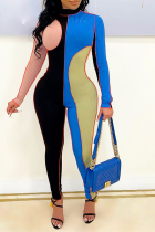 Blue Sexy Color Block Solid Color O Neck Skinny Jumpsuits