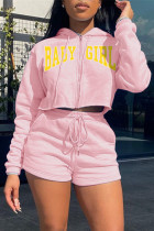 Pink Fashion Casual Letter Print Zipper Hooded Collar Long Sleeve Two Pieces