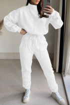White Fashion Casual Solid Split Joint Turtleneck Long Sleeve Two Pieces
