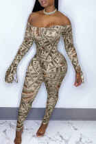 Yellow Fashion Sexy Print Backless Off the Shoulder Skinny Jumpsuits