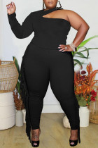 Black Sexy Solid Tassel Hollowed Out Split Joint Without Belt Halter Plus Size Two Pieces
