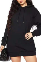 Black Casual Solid Split Joint Hooded Collar Long Sleeve Dresses