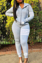 Grey Fashion Casual Striped Split Joint Hooded Collar Long Sleeve Two Pieces