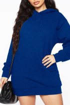 Blue Casual Solid Split Joint Hooded Collar Long Sleeve Dresses
