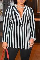 Black Fashion Casual Striped Cardigan Turndown Collar Plus Size Overcoat
