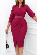 Rose Red Elegant Solid Split Joint With Belt Turn-back Collar One Step Skirt Dresses