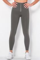 Grey Casual Sportswear Solid Buckle High Waist Skinny trousers
