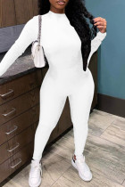 White Casual Sportswear Solid Basic O Neck Long Sleeve Two Pieces