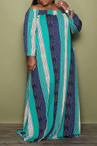 Green Casual Striped Print Split Joint Off the Shoulder Straight Plus Size Dresses