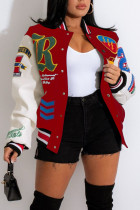 Red Casual Street Print Split Joint Buckle Outerwear