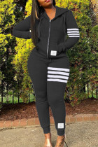 Black Fashion Casual Striped Split Joint Hooded Collar Long Sleeve Two Pieces