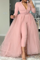 Pink Fashion Casual Solid Split Joint V Neck Plus Size Jumpsuits