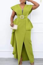 Green Elegant Solid Split Joint Flounce With Belt Asymmetrical V Neck One Step Skirt Dresses
