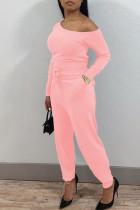 Pink Casual Solid Split Joint Oblique Collar Regular Jumpsuits