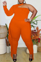 Tangerine Red Sexy Solid Tassel Hollowed Out Split Joint Without Belt Halter Plus Size Two Pieces
